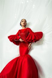 Plus size evening gown images online shopping - Sexy Red Poet Long Sleeves Mermaid Prom Dress With Tassels Luxury Sparkly Beaded Evening Dresses Long Formal Party Pageant Gown