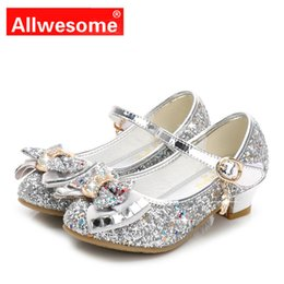 purple flower girls shoes NZ - Allwesome Kid Leather Shoes Princess Girls Flower Glitter Sequin Baby High Heel Shoes Butterfly Knot Red Chaussure Fille Mariage