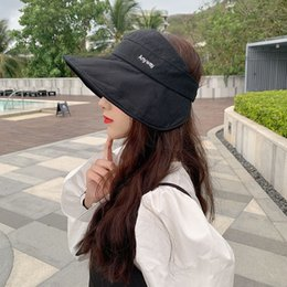 sun hat net Australia - Sun Hat Female Sun Protection Face UV Protection Big Brim Hat New Style All-match Net Red Summer Korean Style Cotton Empty Top Hat
