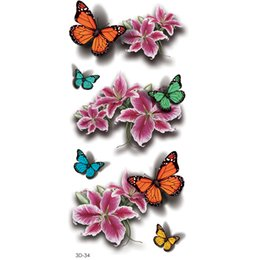 3d Eye Glitter UK - 5pcs Waterproof Color Removable Temporary Tattoos 3D Butterfly Peony Stickers Body Art Glitter Removal Fake Body Painting