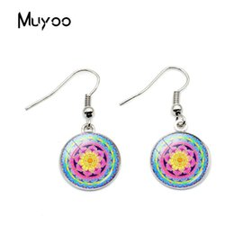 $enCountryForm.capitalKeyWord Australia - 2019 New Design Vintage Mandala Flower Pattern Hook Earrings Hand Craft Earring Glass Dome Silver Bronze Earrings For Women
