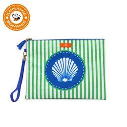 $enCountryForm.capitalKeyWord UK - BONAMIE Wet Bikini Bag Bohemian Waterproof Women Handbag With Wrist Strap Girl Stripe Shell Pattern Clutch Beach Bag With Tassel