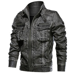 $enCountryForm.capitalKeyWord Australia - Brand New Leather Jacket Men Streetwear Washed Motorcycle Jackets Plus Size 6XL Mens Pocket Leather Coats chaqueta cuero hombre Y190920