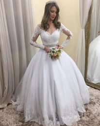 wedding gown appliques Canada - Arabic Luxury Wedding Dresses Bridal Gowns Off Shoulder lace Appliques Ball Gown long sleeves Wedding Gowns beaded sash With Lace Up Back