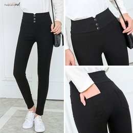 Wholesale female pencil jean for sale - Group buy Black Pant Pants Pencil Womens Spring Fall Button Pocke Knee Length Women Slim Ladies Jean Trousers Female High Waist Pant