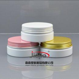 Wholesale Beauty Jars Australia - 50 grams white PET Jar,Cosmetic Jar 50g white jar with gold pink white aluminum Lid Make up Packaging Beauty Salon Equipment