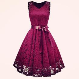 $enCountryForm.capitalKeyWord UK - Vintage Lace Dress Runway Dress Summer Vestido Bow Belt V-neck Party A-line Cami Dresses Elegant Dresses Vetement Femme 2018 Y19050905