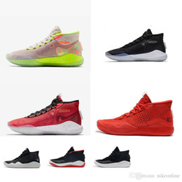 boys basketball kd NZ - Cheap womens kd 12 basketball shoes black white silver Team Red Pink boys girls youth kids kd12 kevin durant xii sneakers tennis with box