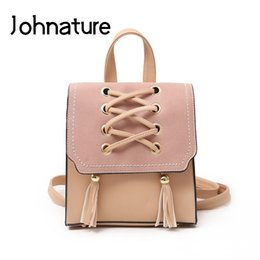 $enCountryForm.capitalKeyWord NZ - Johnature 2019 New Tassel String Soft Handle Arcuate Shoulder Strap Silt Pocket Cover Vintage Softback Thread Women Backpack