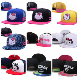 6be2c1aebe3 2019 Baby pink Hello Kitty Kids mesh Baseball Caps toucas gorros 3-8 year  Cartoon Boys Girls Children Flat Hip Hop Adjustable Snapback Hats