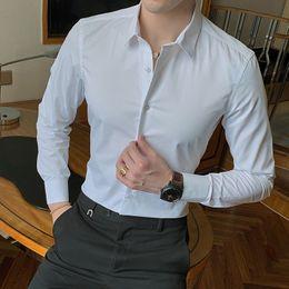 $enCountryForm.capitalKeyWord Australia - 2019 New Fashion Cotton Long Sleeve Shirt Solid Slim Fit Male Social Casual Business White Black Dress Shirt 5XL 6XL 7XL 8XL