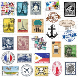 pvc stamp Canada - Low Price INS Vintage Stamp Series Waterproof Stickers Car Doodle Stickers For Luggage Trolley Case Laptop Skateboard Guitar Refrigerator
