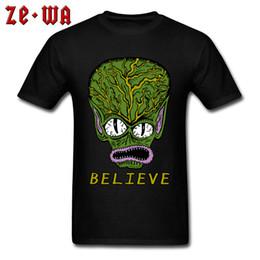 T Shirt Alien Australia - 2018 Fashion T-shirt Man Tshirt Mens Tops Tees Believe In Alien Print T Shirts Cotton Short Sleeve Cartoon Clothes XS Wholesale