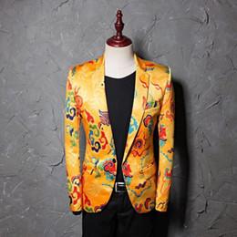 $enCountryForm.capitalKeyWord Australia - Luxury Cloud Printed Blazer Jacket Men 2019 Chinese Style One Button Slim Fit Suit Jacket Male Party Wedding Stage Costume