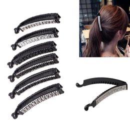 CM MISM Women Rhinestone Banana Hair Comb Clips Ponytail Twist Holders  Elegant Fashion Crystal Shining Headwear Hair Accessories 3c27e9f8b426