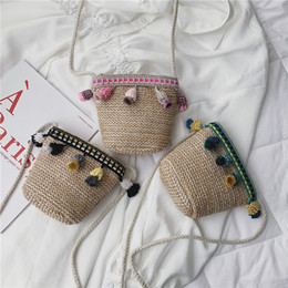 $enCountryForm.capitalKeyWord NZ - 2019 Boho bag summer new children's shoulder bag simple mini straw tassel girls baby Messenger bag