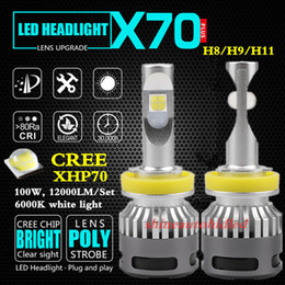h7 lamps led cree Australia - 100W 12000LM 6000K Cree XHP70 Bulb LED Headlamp Conversion kit H4 H7 H8 H9 H11 9005 D2S D4S 9006 9012 car motorcycle Auto headlight fog lamp