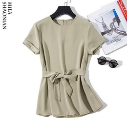 Korean Tshirt Women Australia - Summer Spring Tshirt Women Short Sleeve O-neck Sashes Tees Office Lady Yellow Green Slim Korean Casual Woman Shirts Tops 2019 Y19042501