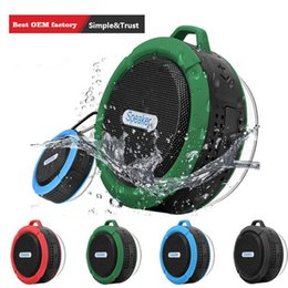 wholesale mini suction cups Australia - Bluetooth Wireless Speakers Waterproof Shower C6 Speaker with 5W Strong Driver Long Battery Life and Mic and Removable Suction Cup