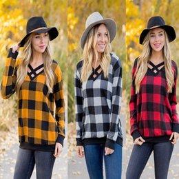 Girls V Neck T Shirts Canada - Women Plaid T-shirt Long Sleeve V-neck Pullover Casual Loose Sweatshirts Checkered Neck Halved Belt Tops Tees Fashion Girls Raglan Blouse
