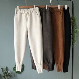 Wholesale white harem trousers women for sale – dress Women s Harem Pants With Pocket Leather Suede High Waist Women Sweatpants Spring Autumn Casual Loose Trousers Female Pants