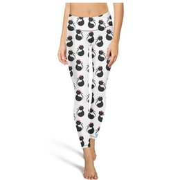 Womens patterned leggings online shopping - Cute cat queen pattern yoga pants High waist yoga pants Womens Gym yoga pants quick drying designer tights camouflage Leggings Black