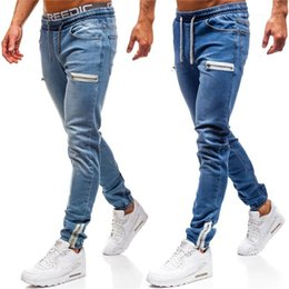 jeans pants style Australia - Panelled Mens Designer Jeans Fashion Hip Hop Style Mens Skinny Pencil Pants Casual Males Clothing Zipper