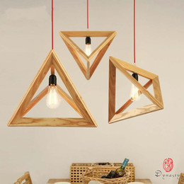wooden kitchen knobs Australia - Triangle Oak Pendant Light Art Decorative Wooden Hanging Lamp LED E27 Europe Style Restaurant Cafe Foyer Modern Fixture Dynasty Free Ship