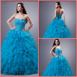 blue crystals Australia - 2019 new arrival blue ruffled beaded crystals princess prom dress strapless sweetheart neck sweet 16 puffy prom gowns best selling 2019