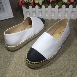 $enCountryForm.capitalKeyWord Australia - Designer Women Leather Canvas Espadrilles Top Quality Real Lambskin Women Flat Shoes Pearl Espadrilles