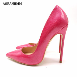 a06df8c987f6 Casual Designer Sexy lady fashion hot glitter peach patent real genuine leather  sweet women lady girl high heel shoes pump small big size