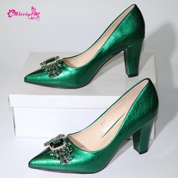 $enCountryForm.capitalKeyWord Australia - Green Color African Wedding Women Shoes Larges Size Italy Design Elegant Pointed Toes Party Shoes New Arrival Summer Sandals