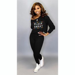 red black tracksuits Australia - Black Smart Women T Shirt Tracksuit Long Sleeve T-shirt Tops + Pants Leggings 2 Piece Set Off Shoulder Outfits Letter Print Sportswear New