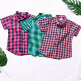 Long Collar Shirts For Girl Australia - Short sleeve shirt for children, boys and girls, children's shirt in plaid Korean version of summer dress for girls -D254