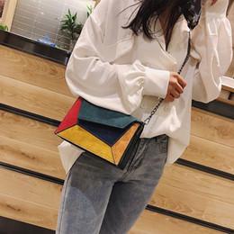 handbags colorful patchwork 2019 - Bag For Women Colorful Print Wool Chain Handbag Luxury Designer Patchwork Clutch Purse Women Chain Shoulder Messenger Ba