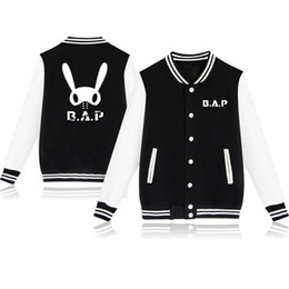 coat kpop men Australia - Kpop BAP Baseball Jacket Women Men Clothes Hip Hop Harajuku Sweatshirt Winter Long Sleeve Coats Streetwear Casual Tracksuit