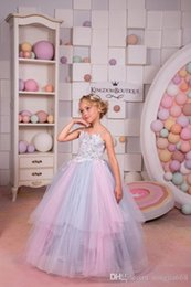 Birthday Evening Gowns For Kids Australia - Back Lace Crystal Flower Dresses for Weddings Blue Custom Made Girls Kids Evening Gowns First Communion Dress