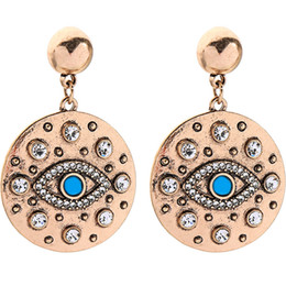 $enCountryForm.capitalKeyWord Australia - 2019 Delicate Jewelry Vintage Evil Eye Crystal Dangle Earrings Round Coin Engraved Blue Eye Simple Fashion Women Girl Lucky Charm Earrings