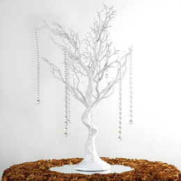 "China 30"" Manzanita Artificial Tree White Centerpiece Party Road Lead Table Top Wedding Decoration +20 crystal Chains cheap wholesale crystal tree centerpiece suppliers"