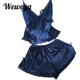 ac390a83b17 Weweya 2017 Summer Pajama Sets Women Sexy Lace Deep V-neck Soft Solid Silk  Short Sleepwear 2 Piece Set Women Pajamas Plus Size