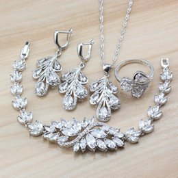 Silver Costume Jewelry Rings Australia - Exclusive Austria Crystal Women Costume 925 Sterling Silver Dubai Wedding Jewelry Sets Earrings Necklace Bracelet Ring Sets