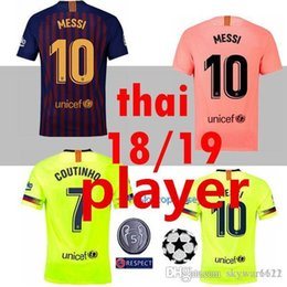 5614ac6d599 PLAYER 2018 2019 FC Barcelona MESSI Soccer Jersey Champions League shirt 18  19 Suárez DEMBELE COUTINHO football shirt top thai quality