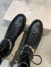 $enCountryForm.capitalKeyWord Australia - Luxury New JC Womens London Rhinestone Martin Army Knight Motorcycle Outdoor Cow Leather Crystal Chain Boots Footwear Size 35-42