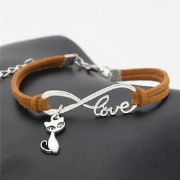 $enCountryForm.capitalKeyWord Australia - 2019 New Simple Female Personality Infinity Love Cats Fox Pendant Bracelet Bangles Brown Leather Suede Rope Jewelry Women Men Christmas Gift