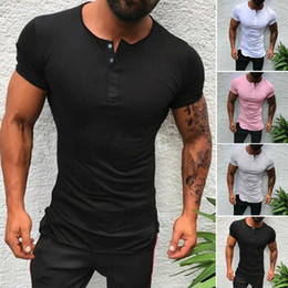 T-shirt do Mens Plain Slim Fit Buttons V Neck Muscle blusa Casual Top Tee
