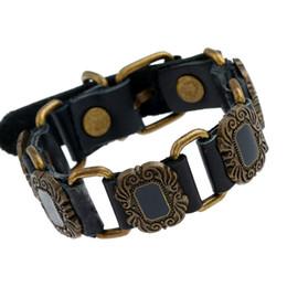 $enCountryForm.capitalKeyWord NZ - Fashion Punk Leather Belt Bracelet Vintage Charms Handmade Wristbands Adjustable Cuff Bangle Wrap Men Women Gothic Retro Jewelry