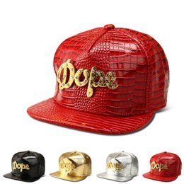 leather snapbacks wholesale Australia - DHL ups TNT ship Vogue DOPE Logo Crocodile hip hop rap PU Hats Gold Rhinestone Street DJ Money Baseball Caps men women Sports Caps