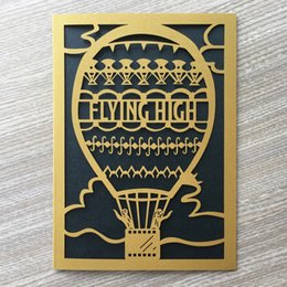 Lace White Invitation Cards NZ - 50PCS  lot Flying High Wedding Invitation Cards Nice Lace Graduation Ceremony Hot Air Balloon Pattern Decorations