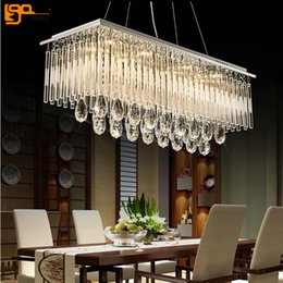 Discount rectangle dining room modern chandeliers - new rectangle design modern chandelier crystal foyer lights AC110V 220V lustre LED dinning hanging lamp fast shipping