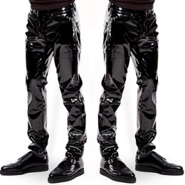 men pole dancing Canada - Men Sexy Black wetlook PVC Stage Wear Faux Leather Pencil Pants Skinny latex leggings pole dance Club Wear